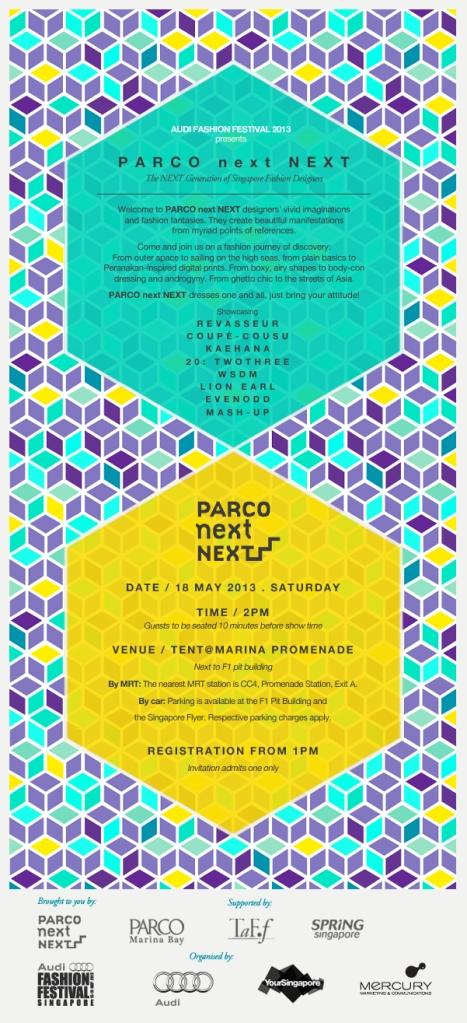 Parco next NEXT show at AFF e-invite 2